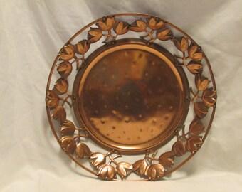 Solid Copper Dish With Openwork Tulip Rim - 1980's