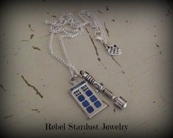 Doctor Who TARDIS blue police box and Sonic Screwdriver necklace