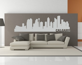 Calgary Alberta Canada City Skyline Interior Wall Decal WITH Lettering