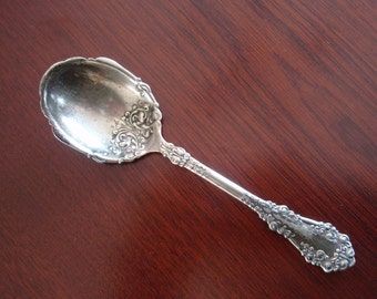 1897 Antique 1847 Rogers Bros Silverplate Electroplated Sugar or Berry Spoon Berkshire Design Collectible a2096