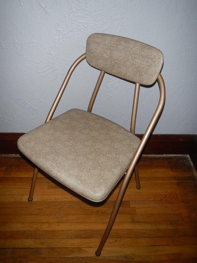 Vintage Cosco Folding Chairs Brown Cream Vinyl Seats Metal Mid Century Modern