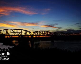 Parker, Arizona. Railroad Bridge at Sunset