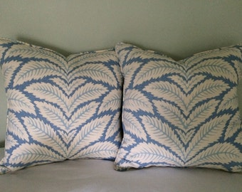Custom Down Pillows in Brunschwig & Fils Talavera Blue. 20 x 20 in.  Front and Back