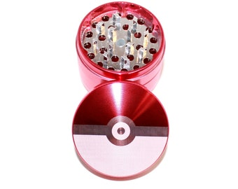 Pokemon Pokeball Design Laser Etched Metal Herb Grinder - 4 piece herb grinder w/ FREE Carrying Pouch