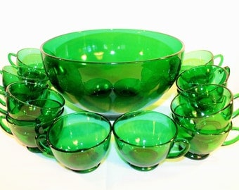 Anchor Hocking Forest Green Punch Bowl and 14 Cups – 1950's