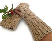 Fingerless gloves crochet lace ecru acrylic yarn mittens arm warmers fall winter fashion