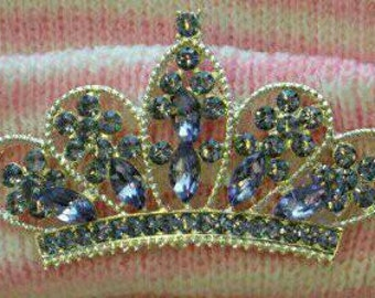 Newborn Hospital Hat EXCLUSIVE. White/Pink Stripe Hat with Lavender Rhinestone Tiara. Her Very 1st TIARA Keepsake!
