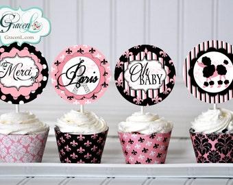 Baby Shower Paris Cupcake Toppers, Paris Baby Shower Decorations, Paris Shower, Paris Party