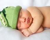 Sweet Pea Knitted Newborn Baby Hat with Matching Onesie (Optional)