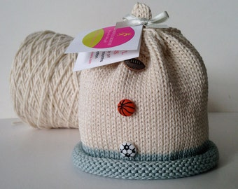 Let's Play Ball Knitted Newborn Baby Hat, Sports Fan Hat (Basketball, Football, Soccer), Hand-Knit, Cotton, Best Baby Boy Gift