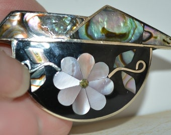 Vintage Brooch, Abalone, Mother of Pearl, Onyx, Gold Black, Brooch, Alpaca Silver, Cloisonne, 1980's