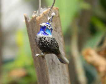 enamel sterling silver bird