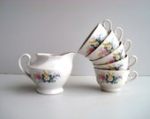 Vintage soviet Tea set, porcelain cups with creamer, RPR Riga porcelain factory USSR 1970s