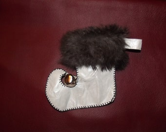 Handmade Genuine Leather stocking with rabbit fur trim, Christmas stocking, elf stocking, Grinch stocking, leather stocking, X-mas