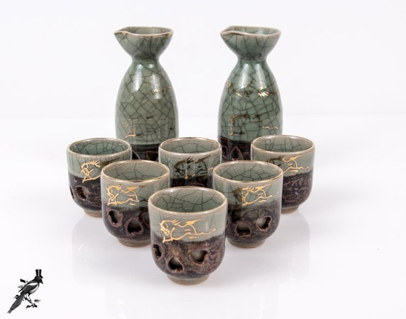 Vintage Otagiri Soma Ware Somayaki 2 Sake Carafes/Flasks & 6