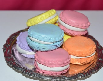 "4 assorted Macaroons - made for 18"" Doll,  miniature play, pretend doll food"