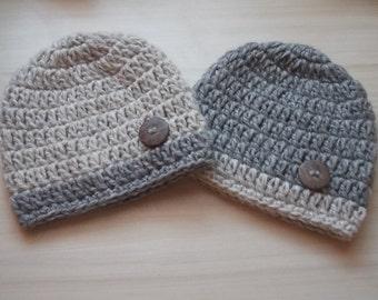 Baby boy hats, twin boy hats, newborn button hat, twin hats, newborn twin hats, hospital twin hats, crochet twin hats