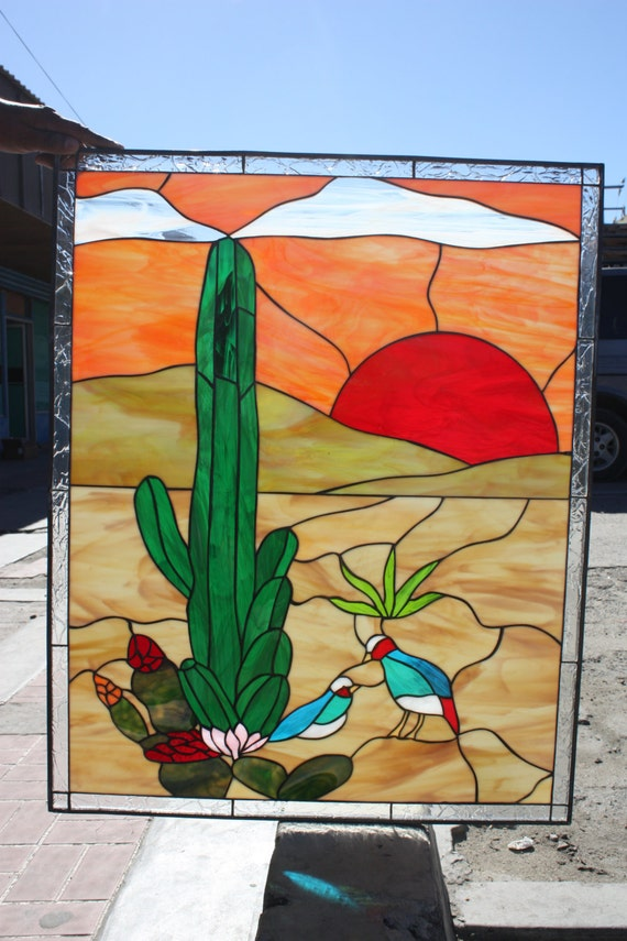 Cactus & desert quail Style Stained Glass Panel by ...