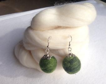 Unique needle felted handmade earrings.