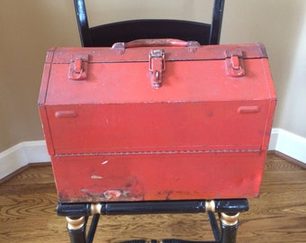 Vintage Red Kennedy Kits 1018 Cantilever Fold Out Metal Machinist Mechanic Tool Chest Box
