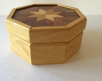 Vintage Hand Made Hexagon Shaped Marquetry Star Inlay Trinket Jewelry Box