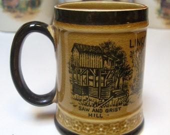 Petersburg Illinois Abraham Abe Lincoln's New Salem Souvenir Cup Mug Saw Grist Mill Berry Store On IL Prairie 1950 1960 Japan Rare Vintage