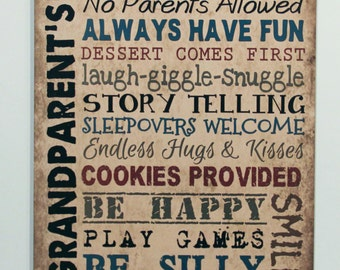 Wood sign Grandparents House Rules grandma gift Vintage Primitive Home Wall Decor