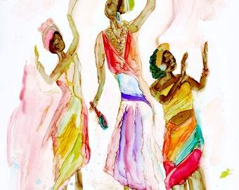 African Dancers Watercolor Print