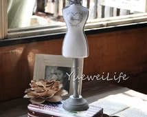 "Mannequin Jewelry Display Stand, White Fashion Fabric Jewelry Holder ""Bijoux""-(ETA058)"
