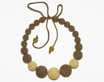 Brown, mustard and olive necklace / Faux vintage necklace / Crocheted beaded necklace / Nursing necklace / Boho necklace