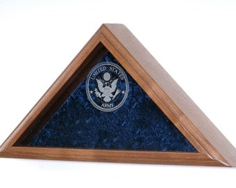 Military Veteran Funeral Flag Display Case - For Burial Casket Flag - INCLUDES Engraved Military Emblem