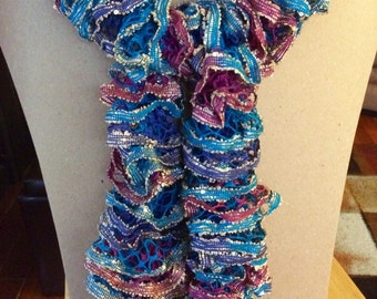 Sparkly Pink and Blue Ruffle Scarf