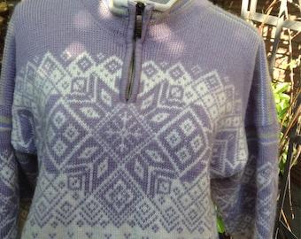 Dale of Norway polar zip, Norwegian wool sweater made in Norway-women's M