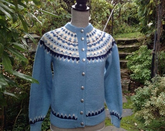 Fair Isle Norwegian wool sweater by Lulle Otterstad. Made in Norway-size S
