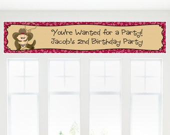 Cowboy Banner - Custom Baby Shower or Birthday Party Decorations