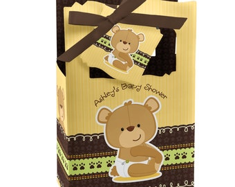 Teddy Bear Favor Boxes - Custom Baby Shower and Birthday Party Supplies - Set of 12