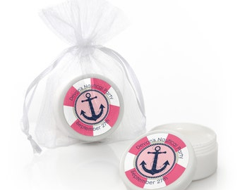 Ahoy - Nautical Girl Lip Balm Party Favors - Baby Shower and Birthday Party Supplies - 12 Count