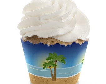 Beach Cupcake Wrappers - Birthday Party, Bridal Shower & Wedding Party Cupcake Decorations - Set of 12