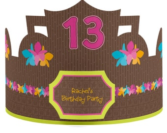 8 Custom Party Hat - Luau Birthday Party Supplies - Set of 8