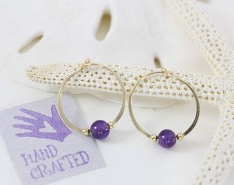 Gold filled hoop earrings Amethyst semi precious stone bead endless round handmade