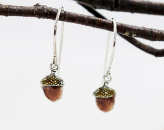 Tiny acorn earrings. Sterling silver dangles, drops. Hand painted, hand crafted. Nature inspired design. Thin, lightweight.