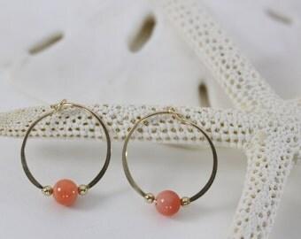 Gold filled hoop earrings Genuine Coral bead endless round handmade