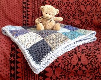 Big Blue Baby Blanket. Rustic Patchwork Cot/Pushchair Blanket