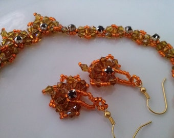 Crystal heart orange brown beadwiving necklace glass red crystal matching earrings