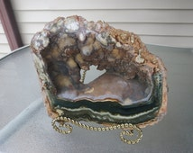 Green Jasper Geode # 204 Mantle Piece with Jasper Eyes, Dripping Stalactites and Rear Window