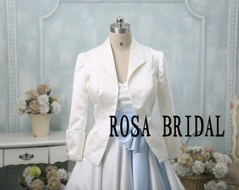 Bridal bolero jacket shrug, Wedding jacket long sleeves, Bridal satin Jacket,  Wedding bolero jacket  Custom Color Size