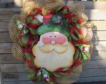 "24"" Santa wreath Christmas Wreath Red/Green Wreath Deco Mesh Wreath Santa Hat Wreath Santa Face Wreath Noel Wreath Santa Ribbon Wreath"