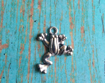 8 Frog charms antique silver tone - silver frog charm, frog pendant, amphibian charms, nature charms, D14