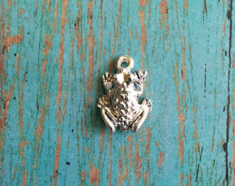 Frog 3D charm silver plated pewter (1 piece) - silver frog charm, toad charm, frog pendant, fairy tale charm, reptile charm, DD15