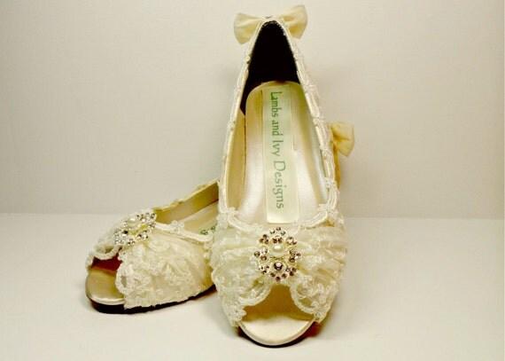 Ivory Wedding Wedge Heels: Ivory Lace Wedge Heels Marie Antoinette Lace Wedding By